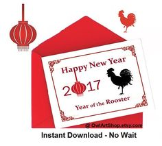 Year of the Rooster Card Happy New Year Chinese New by OwlArtShop