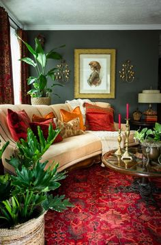 Far Above Rubies: Mountain farmhouse fall tour- charcoal gray eclectic living room with vintage textiles and warm accents Colourful Living Room, Eclectic Living Room, Boho Living Room, Eclectic Decor, Home And Living, Living Room Decor, Living Room Warm Colors, Living Room Vintage, Modern Bohemian Decor