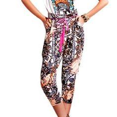 Allegra K Lady Multicolor Novelty Print Zip Up Side Capri Pants M Allegra K. $13.57