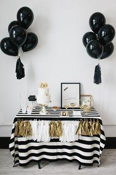 Black white gold - I don't like the black balloons.