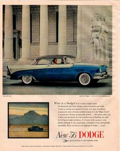 Vintage 1956 Dodge Lancer Ad. Value Leader of the Forward Look. A Streak of light across the Bonneville Salt Flats. Features a blue and white car with couple riding in it. This is a large sheet measur