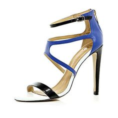 Blue barely there strappy sandals £45.00