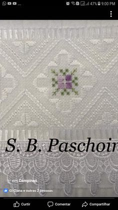 This Pin was discovered by Gül Machine Embroidery Designs, Hand Embroidery, Bargello, Cross Stitch Borders, Heirloom Sewing, Diy And Crafts, Sewing Projects, Crochet, Hand Towels
