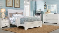 Belcourt White 7 Pc Queen Panel Bedroom from  Furniture