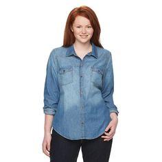 Juniors' Plus Size Mudd® Shirttail Denim Shirt, Girl's, Size: 2XL, Med Blue