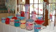 Crimson and teal case wedding candy buffet table.   Jorden Collins Candy Buffets 949-231-2098 SweetLadera@cox.net