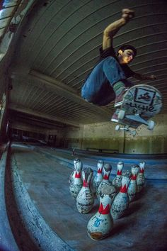 Skating through an abandoned psych ward with a hidden bowling alley.