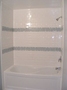beautiful gloss white tile bathroom wall subway shower bathtub with gray striped ceramic wall decor in