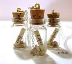Message in a Bottle Necklace Bottle Necklace by BitOfSugar