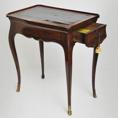Signed Walnut Leather-Top Louis XV Escritoire, France circa 1740 | From a unique collection of antique and modern desks and writing tables at https://www.1stdibs.com/furniture/tables/desks-writing-tables/