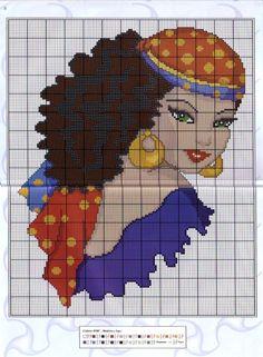 point de croix femme tsigane  - cross stitch gipsy woman