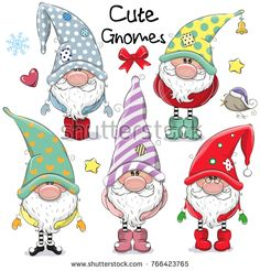 Set of Cute Cartoon Gnomes isolated on a white background - Guggi's Bastelwand - Karikatur Area Christmas Rock, Christmas Gnome, Christmas Crafts, Christmas Decorations, Christmas Ornaments, Motif Photo, Cartoon Mignon, Black And White Cartoon, Christmas Drawing