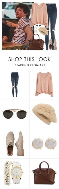 """Sin título #1146"" by wiki0622 ❤ liked on Polyvore featuring Topshop, MANGO, Ray-Ban, Sole Society, Gap, Melissa Joy Manning, Charlotte Russe and Givenchy"