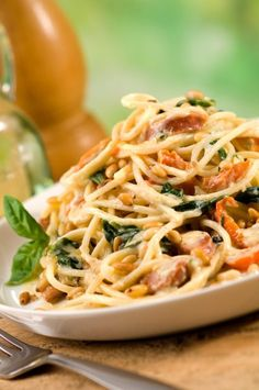 Spaghetti with Chorizo, Spinach and Pine Nuts