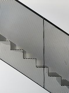 Metal mesh + geometrical shapes, structured on grid - Villa Öjersjö: A Contemporary Black Wooden House by Bornstein Lyckefors arkitekter Stair Handrail, Staircase Railings, Stairways, Wood Railing, Railing Ideas, Architecture Design, Landscape Architecture, System Architecture, Stairs Architecture