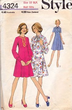 1970s Style 4324 Vintage Sewing Pattern Boho Tie Neck Dress Size 10 MP Bust 32 1/2 inches