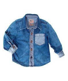 Camisa para bebe niño manga larga roll up en indigo. Compra Ropa para Niño  en 38f17d70e3a