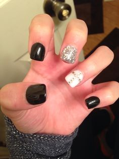 Need to try this with shellac! Black white bling and cross! All my favs in one!