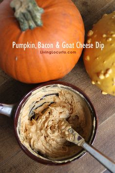 I love this Pumpkin, Bacon and Goat Cheese Dip! #Recipe by Livinglocurto