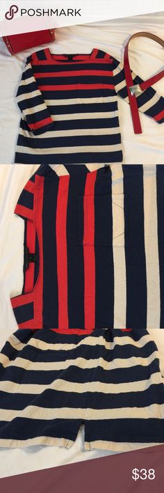 👁Red/blue/cream striped 3/4 sleeve cotton/linen T Very comfy cotton T w/front pocket and split sides Marc by Marc Jacobs Tops Tees - Long Sleeve