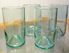 Upcycled wine bottle glasses