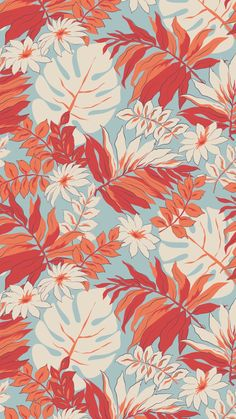 Hibiscus pattern by smileysunday - Hand illustrated floral pattern in orange and mauve on a teal background on fabric, wallpaper, and gift wrap. Bold floral pattern by indie pattern designer smileysunday. Textures Patterns, Print Patterns, Floral Patterns, Fabric Patterns, Color Patterns, Wallpaper Backgrounds, Iphone Wallpaper, Motif Floral, Retro Floral