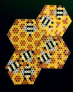 Bee coaster set hama beads by niknikulous