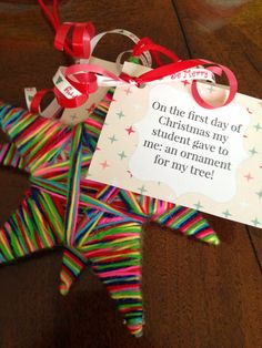 12 days of Christmas {teacher edition with a twist for friends as well} Ornaments For Teachers, Teacher Christmas Presents, Teacher Christmas Ideas, Christmas Activities, Christmas Projects, Xmas Gifts, Christmas Holidays, Christmas Ornaments, Christmas Poems
