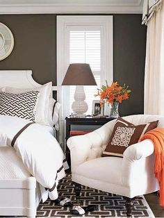 white orange bedroom interior