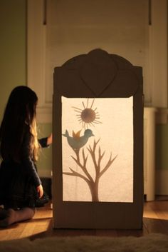 Shadow Puppet Theatre | Magnesium Blue Diy For Kids, Crafts For Kids, Shadow Theatre, Inspiration Artistique, Shadow Play, Shadow Puppets, Cardboard Crafts, Light And Shadow, Diy Art