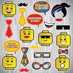 Lego Lego Photo Booth Props INSTANT DOWNLOAD PRINTABLE Lego
