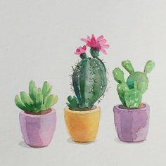 "208 Me gusta, 7 comentarios - Art & Illustration (@leyla_torres_watercolors) en Instagram: ""Cactus. I want to paint dozens of them! Day 24/30 #cbdrawaday #watercolorart #watercolor…"""