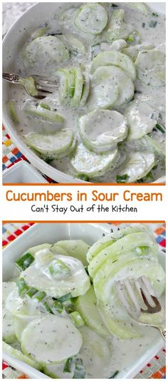 Cucumbers in Sour Cream - my family uses thinly sliced red onions,red wine vinegar and no dill. Old Austrian recipe.