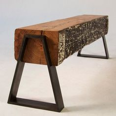 Love the rustic wood with the modern, architectural legs, from analogmodern.com