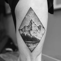 38 Gorgeous Landscape Tattoos Inspired by Nature Berg Tattoo von Tomtom Dot Tattoos, Side Tattoos, Dot Work Tattoo, Trendy Tattoos, Body Art Tattoos, Sleeve Tattoos, Tattoos For Guys, Geometric Mountain Tattoo, Mountain Tattoo Design
