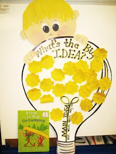 main idea. This is cool. Kids could all write thoughts on sticky notes and then put them on the big bulb in large group time.