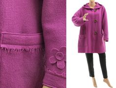 Hooded jacket with flowers hooded coat from merino von classydress