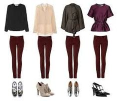 Burgundy pants outfits