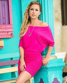 Hot Pink Off The Shoulder Mini Dress http://divashq.com/hot-pink-off-the-shoulder-mini-dress #minidresses #dresses #sundresses #rucheddresses #hotpink #fashion