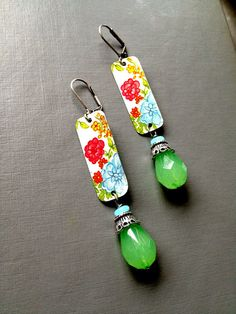 Judith Earrings  Floral Vintage Tin Jewelry by SweetSageJewelry, $22.00