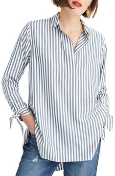 Crew Collared Tie-Sleeve Popover Stripe Shirt (Regular & Plus Size) Stylish Work Outfits, Preppy Outfits, Cute Outfits, Blue Striped Shirt Outfit, College Girl Image, Knitted Jackets Women, Fall College Outfits, Knit Jacket, Plus Size