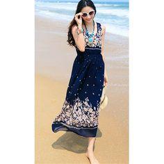 TS-Bohemia Swing Print Elastic Waist Beach Maxi Dress(Random Prints) Chiffon Maxi, Womens Clothing Stores, Clothes For Women, Evening Dresses, Formal Dresses, Dress P, Fashion Dresses, Maxi Dresses, Women's Fashion