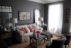 Decorating With Paint Ideas For Living Rooms Gray Walls Wood Floor Paint Living Room Has Two Lights One Table Sat A White Sofa Wooden Seater Mirrors And Curtained Window Countertop of Design Gray Living Room Walls from Livingroom Ideas