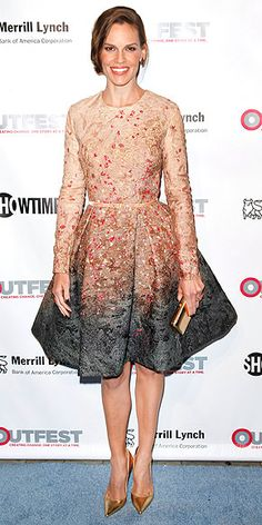 beaded long-sleeve Elie Saab Couture dress at the 2014 Outfest Legacy Awards in L.A.  (nov 2014)