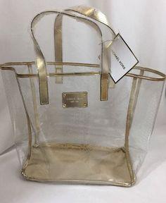 MICHAEL KORS Clear/Gold Large Tote Shopper Travel Beach Bag Jelly New! | Clothing, Shoes & Accessories, Women's Handbags & Bags, Handbags & Purses | eBay!