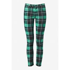 Waterloo Denim Jeans ($65) ❤ liked on Polyvore featuring jeans, tight fit jeans, white jeans, zip jeans, plaid jeans and french connection jeans