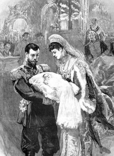 Print showing the baptism of Olga Nikolaevna. Her father, Nicholas II, is handing her off to one of her godmothers, Maria Feodorovna, who was also her grandmother