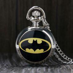 Vintage Steampunk Black Batman Pocket Watch Necklace Pendant Gift Batman