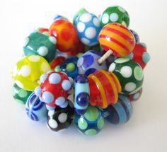 Bright Fun and Funky Little Lampwork Beads SRA by bethsingleton