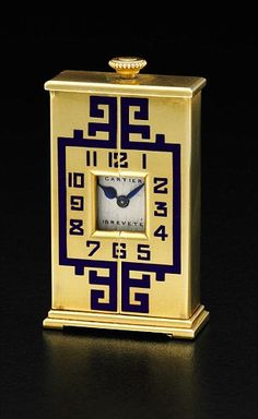 A yellow gold and enamel art deco timepiece by Cartier could sell for between £8,000 and £12,000